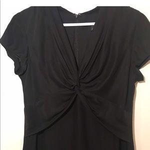 Banana Republic Black Silk Dress with Twist-Front